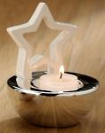 GILDE Kerzenhalter Stern im Porzellan-Schälchen in Weiß Platin 11, 5 cm