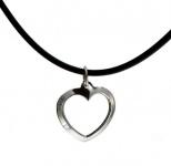 Gewölbtes Herz mit Natur-Kautschukband aus 925 Silber