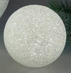 Dekokugel aus Kunststoff, weiß mit LED Beleuchtung, 14 cm