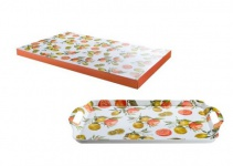 GILDE Tablett, Melamin mit Zitronen- und Orangen Dekor, 48, 5 x 29, 5 cm
