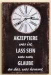 Nostalgische Wanduhr mit Weisheitsspruch, braun, 25 x 38 cm