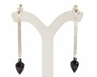 Schwarzer Granat Tropfen Ohrringe 925 Silber