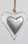 Nostalgischer Dekohänger Herz in Weiß Silber, 26 cm