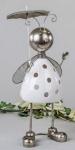 formano Windlicht Käfer aus Keramik und Metall, weiß silber, 30 cm