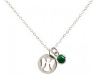 Damen Halskette Anhänger Engel Schutzengel 925 Silber Smaragd