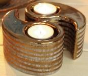 GILDE 2 Teelichthalter Cancun aus Keramik in Gold, 12 x 11 x 7 cm