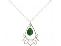 Halskette Anhänger Silber Lotus Blume Turmalin Quarz Tropfen Grün YOGA
