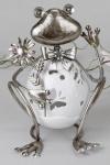 formano Windlicht Frosch mit Wackelkopf in Weiß Silber, 23 cm