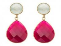 Ohrringe 925 Silber vergoldet Chalcedon rubin Meeresgrün Rot 4 cm
