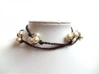 Perlen Kette *Edelweiß* Leder und 925 Silber