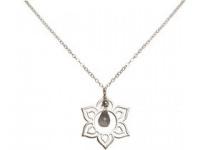 Halskette Anhänger Silber Lotus Blume Mandala Rosenquarz Rosa YOGA