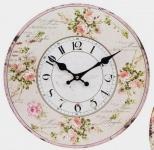 Nostalgische Wanduhr rund 34 cm mit dem Aufdruck rosa Rosen
