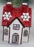 formano Haus als Windlicht aus Keramik in Weiß Rot, 13 cm
