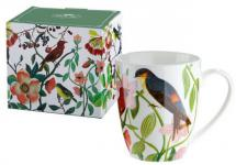 GILDE Becher mit Blumen- und Vogeldekor, Porzellan, 300 ml