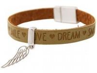 Damen Armband Schutz Engel Flügel 925 Silber WISHES Braun Sand