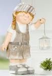 GILDE Gartenfigur Grete mit Laterne und Textilmütze, 47, 5 cm