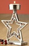 GILDE Kerzenhalter Stern aus Alu mit kupfernem Spiegelmosaik, 17 cm