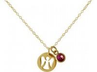 Halskette Anhänger Engel Schutzengel 925 Silber Vergoldet Rubin 1, 3 cm