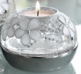 Dreamlight Kerzenhalter rund mit Blümchenmuster und Strass, 8 x 11 cm