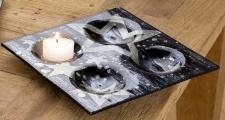 GILDE Deko-Schale Star aus Glas in Anthrazit und Silber 24 x 24 cm