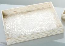 GILDE Tablett aus MDF mit Muscheldekor in Natur Gold, 35 x 45 cm
