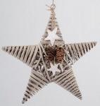 Dekohänger Stern 33 cm aus Rattan in Braun