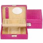 Sacher Schmuckkästchen Britta pink, Leder mit geprägter Kroko-Optik