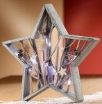 GILDE Deko-Stern mit LED Beleuchtung, Sterne und Zapfen, 39 x 37 cm