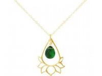 Halskette Anhänger Silber Vergoldet Lotus Blume Mandala Turmalin Quarz