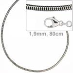 Schlangenkette 925 Sterling Silber 1, 9 mm 80 cm Halskette Karabiner