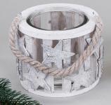 formano Windlicht aus Birkenrinde, Stern, mit Glaseinsatz, 12 cm