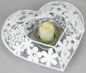 Teelichthalter Leoni, mit Schmetterling und Blumen Motiv, 18 cm