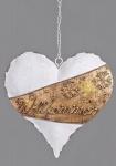 Nostalgischer Dekohänger Herz mit Willkommen in Weiß Gold, 20 cm