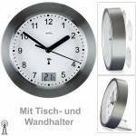 AMS 5925 Wanduhr Baduhr Funk anthrazit wasserdicht mit Thermometer