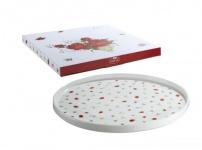 GILDE Tortenplatte aus Porzellan im Rosendesign, 27 cm