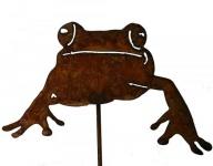 Frosch auf Stab Gartenstecker Edelrost