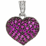 Anhänger Herz 925 Sterling Silber mit Zirkonia pink Herz Anhänger