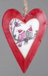 Nostalgischer Dekohänger Herz in Rot Weiß mit Vogelpärchen, 26 cm