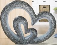 GILDE Gartendeko Gartenskulptur Herz in Herz aus Magnesia, 57 cm
