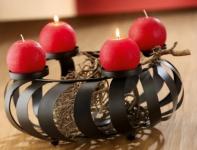 GILDE Weihnachtskranz aus Metall in Schwarz gedreht, 37 x 16 cm