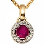 Anhänger rund 585 Gelbgold 18 Diamanten Brillanten 1 Rubin rot