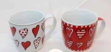 2 Kaffeebecher aus Porzellan - Herz-Design