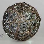 formano Dekokugel aus Rattan in Gold mit LED Beleuchtung, 15 cm