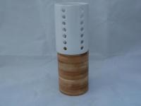 Kerzenhalter aus Holz und Keramik, 19, 5 cm hoch