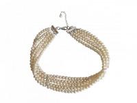 Halskette Collier 925 Silber Perlen Weiß Größenverstellbar