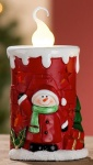 GILDE Keramik-Kerze Schneemann mit LED Beleuchtung, 13, 3 cm