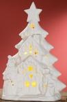 GILDE LED Weihnachts-Idylle in matt Weiß aus Porzellan, 24 cm