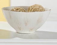 GILDE Deko-Schale Rigato, creme braun glasiert, 14 x 31 cm