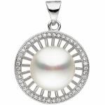 Anhänger rund 925 Sterling Silber 1 Süßwasser Perle mit Zirkonia