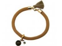 Armband 925 Silber Vergoldet Edelstein Rauchquarz STAR Stern Braun